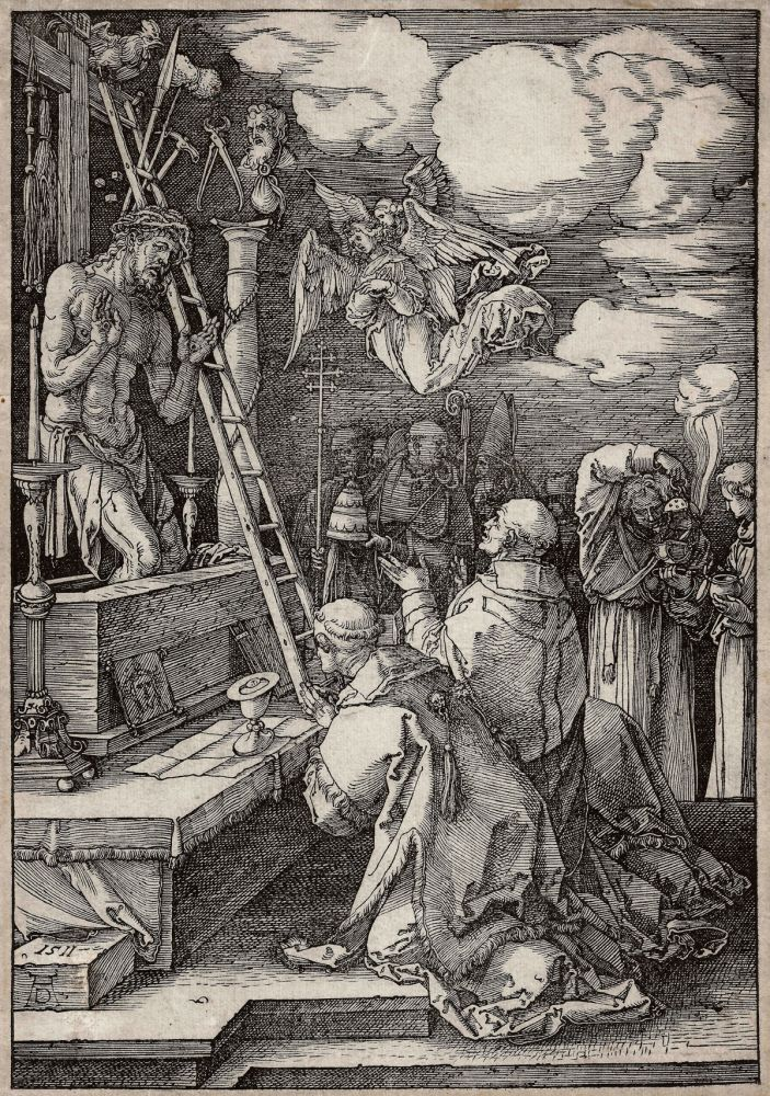Woodcut Durer - Die Messe des heiligen Gregor (The mass of St. Gregory)