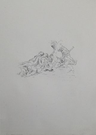Lithograph Slevogt - Die Soldaten müssen im Schnee kampieren