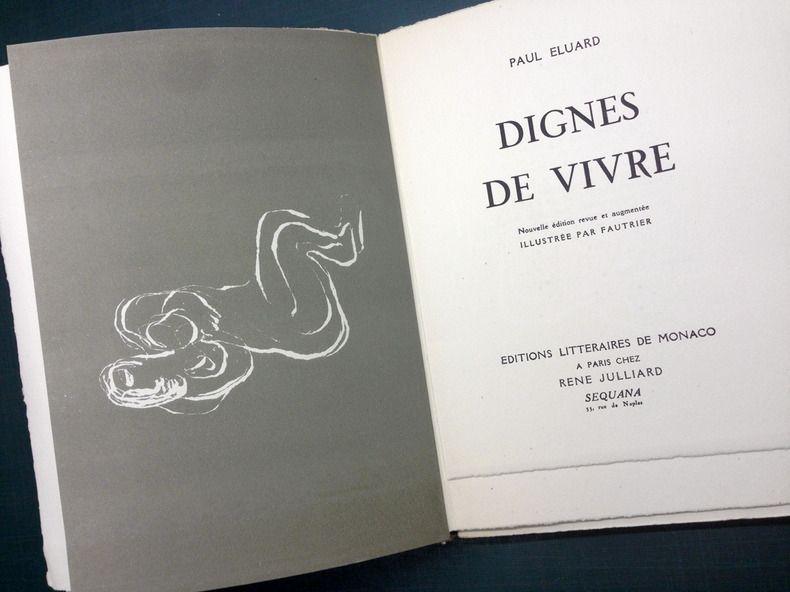 Illustrated Book Fautrier - DIGNES DE VIVRE. Lithographies de Fautrier. 1944