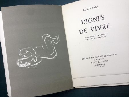 Illustrated Book Fautrier - DIGNES DE VIVRE. Lithographies de Fautrier. 1944