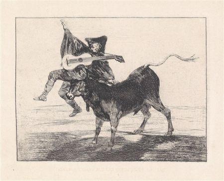 Etching And Aquatint Goya - Dios se lo pague a usted (Aveugle enlevé sur les cornes d'un taureau)