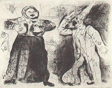 Engraving Chagall - DISPUTE DE PLIOCHKINE ET DE MAVRA