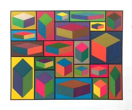 Linocut Lewitt - Distorted Cubes