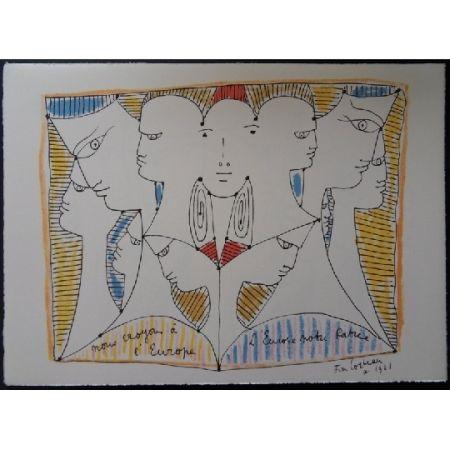 Lithograph Cocteau - Diversité d'Europe