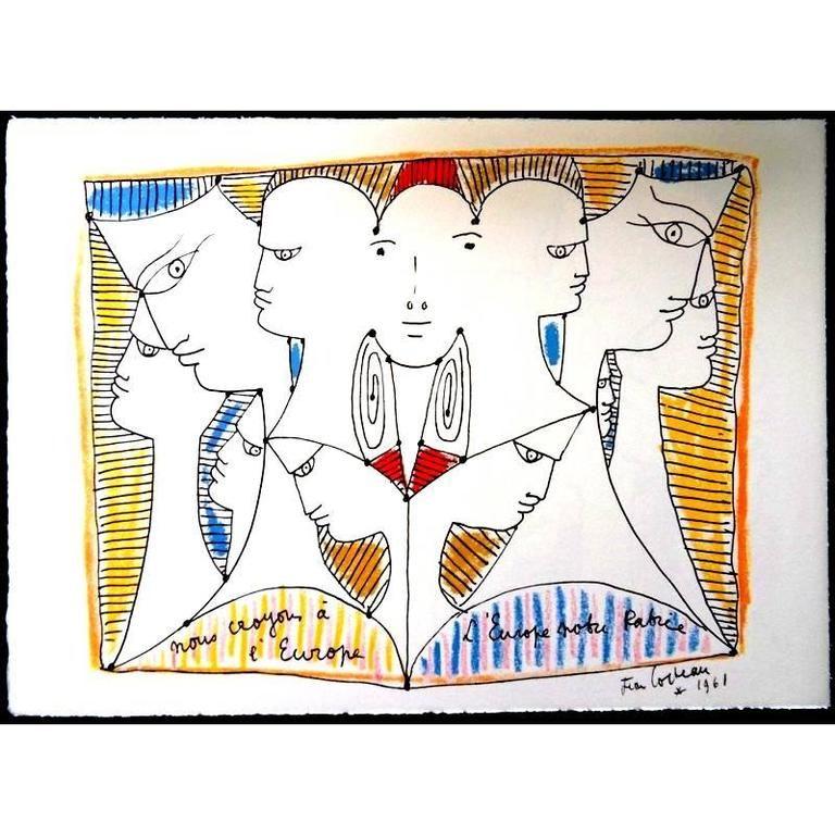 Lithograph Cocteau - Diversité Européenne