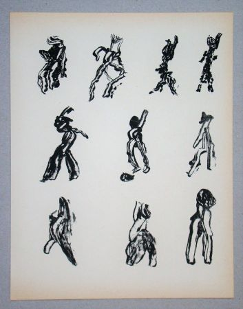 Lithograph Michaux - Dix Figures