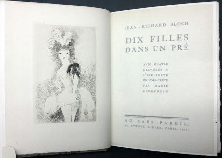 Illustrated Book Laurencin - DIX FILLES DANS UN PRÉ avec quatre gravures à l'eau-forte en hors-texte par Marie Laurencin (Ex. avec suite)