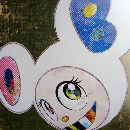 Lithograph Murakami - DOB in pure white robe (pink & blue)