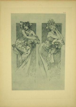 Lithograph Mucha - Document Décoratif  Planche N°12