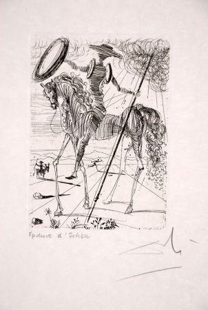 Engraving Dali - Don Quichotte - Don Quixote (Suite Cinq Portraits Espagnols - Five Spanish Immortals)