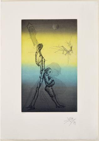 Etching And Aquatint Ponç - Don Quichotte et Sancho à dors, XVI