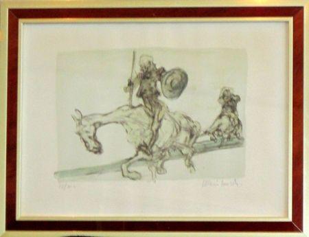Lithograph Weisbuch - Don quichotte et sancho panza