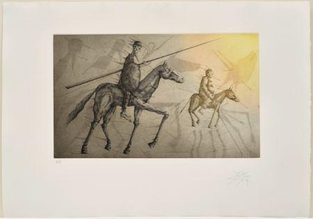 Etching And Aquatint Ponç -  Don Quichotte suivant Sancho, X