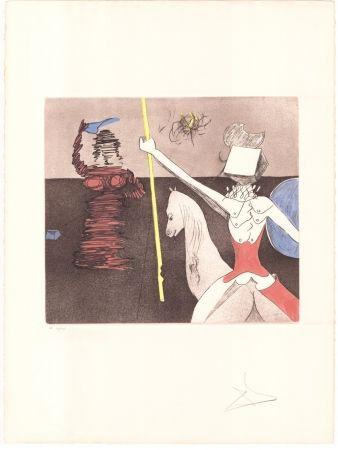 Etching Dali - Don Quijote - après la bataille