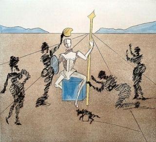 Etching Dali - Don Quijote - le casque d'or de Mandrino