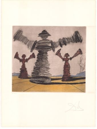 Etching Dali - Don Quijote - l'homme tournant