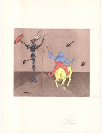 Etching Dali - Don Quijote - Maître et écuyer
