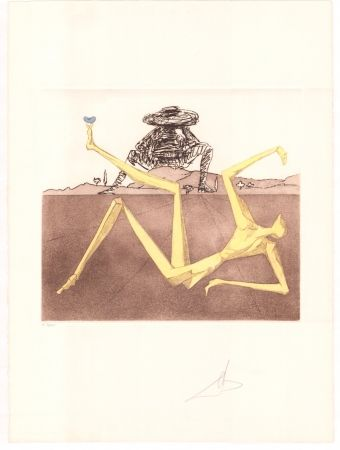 Etching Dali - Don Quijote - the heart of madness