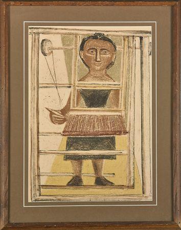 Lithograph Campigli - Donna al telaio