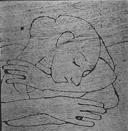 Woodcut Casorati - Donna che si riposa