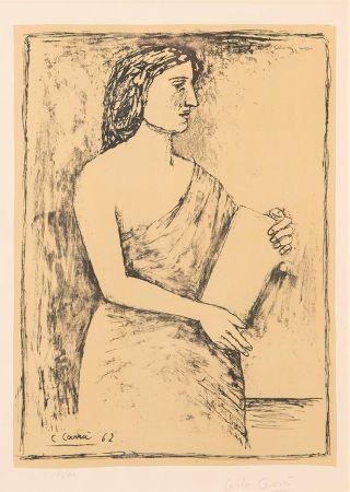 Lithograph Carra - Donna con Libro