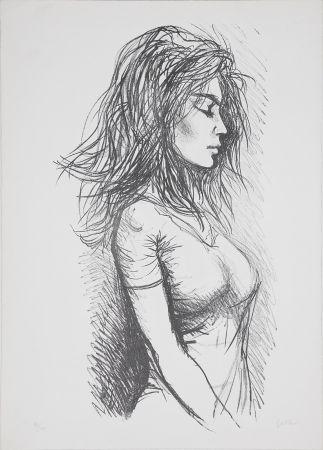 Lithograph Guttuso - Donna di profilo verso destra