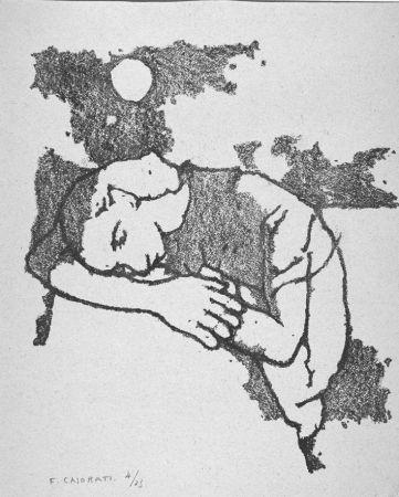 Lithograph Casorati - Donna dormiente