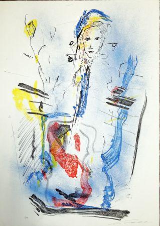 Lithograph Treccani - Donna e violino
