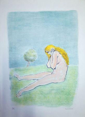 Lithograph Messina - Donna seduta