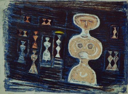 Lithograph Campigli - Donna su fondo blu