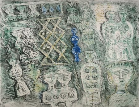 Lithograph Campigli - Donna su fondo verde