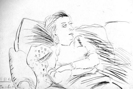 Engraving Tamburi - Donna sul divano