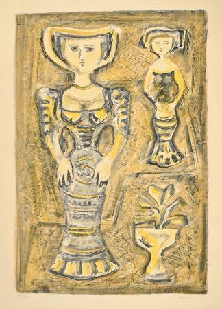 Lithograph Campigli - DONNE - FIORI, 1957