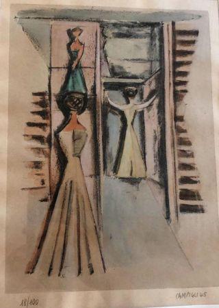 Lithograph Campigli - Donne alla finestra