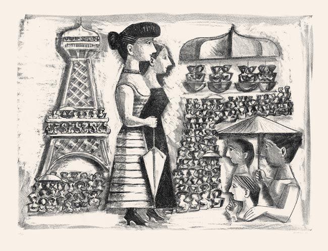 Lithograph Campigli - Donne alla Torre Eiffel