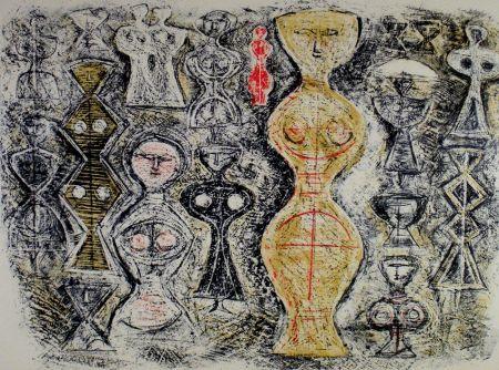 Lithograph Campigli - Donne su fondo blu