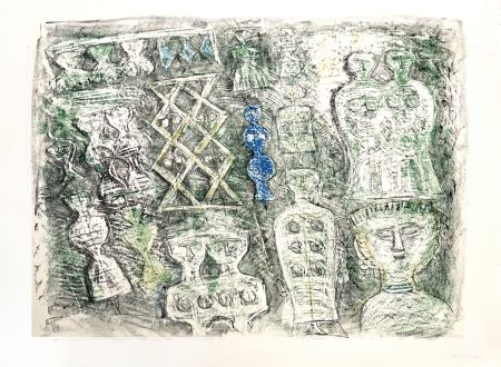 Lithograph Campigli - Donne su fondo verte