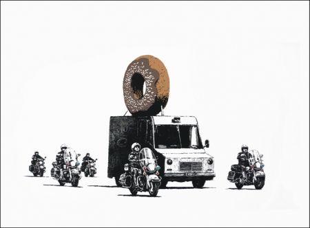 Screenprint Banksy - Donuts (Chocolate)