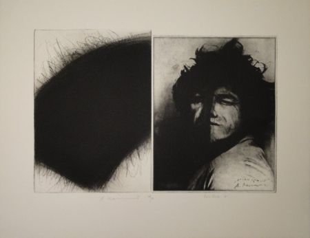 Etching Roth - Doppelporträt oder Stirnspalt