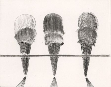 Drypoint Thiebaud - Double Deckers
