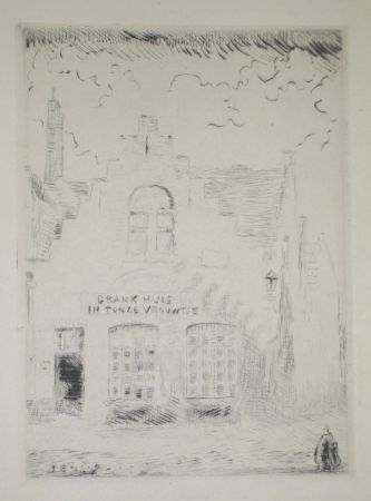 Drypoint Ensor - Drank huis in tonze vrouwtje