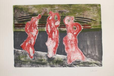 Lithograph Herold - Drei Figuren