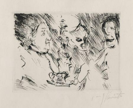 Drypoint Corinth - Drei Personen am Tisch