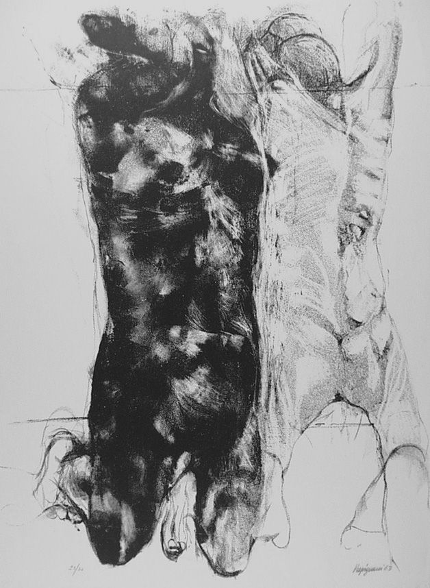 Lithograph Vespignani - Due figure