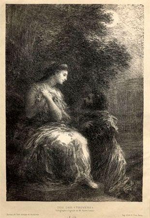Lithograph Fantin-Latour - Duo des Troyens (7º planche)