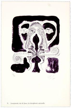 Lithograph Nørgaard - E. Autoportrait, tête de Janus, la schizophrénie universelle.