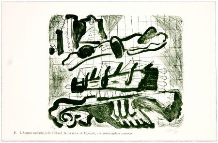 Lithograph Nørgaard - E. L'homme endormi, le lit Tiefland, Beuys au lac de Tibériade, une méthamorphose, entropie.