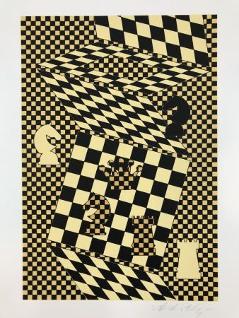 Lithograph Vasarely - ECHIQUIER