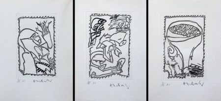 Etching Alechinsky - Eclipses - Triptyque