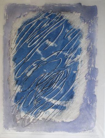 Aquatint Fautrier - Ecriture sur fond bleu